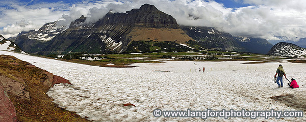 This panorama was taken from about 1/2 way up the trail to Hidden Lake.  I am looking back towards the Logan's Pass visitor center.  The snow was very challenging to walk in with just sneakers on.