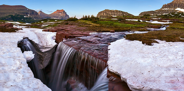 """Triple Falls""  Glacier National Park, MT Technical Details: Shot with Canon 30D and Canon 10-22mm lens at F10 and 1/8.    Panorama created from 10  vertical shots."