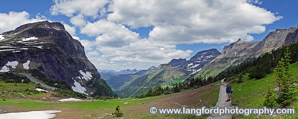 Panorama of the West side of the Going to the Sun Road.  This was taken from near the beginning of the Highline Trail.  The smoke from recent forest fires put a lot of haze in the air.