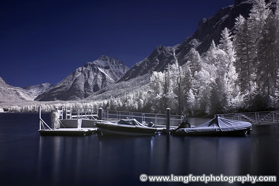 An infrared shot of the boat dock just behind the lodge.  The lake was very still this day.
