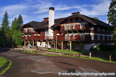 This is the front of Lake McDonald Lodge in the early morning.  Make sure you go inside and check out the awesome fireplace.