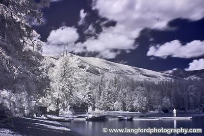 Infrared image of the shore of Lake McDonald lake.  This was shot near Apgar Village.