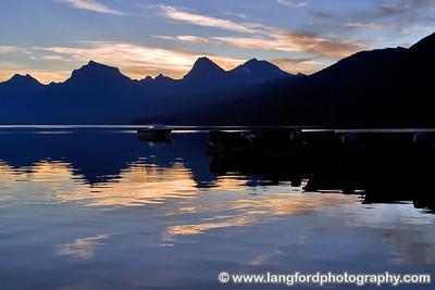 Sunrise colors over Lake McDonald.  Shot near Apgar Village.