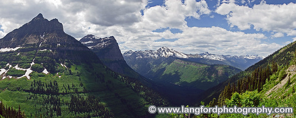 This panorama of West side of Glacier was shot from a pullout near the top of the Going to the Sun highway.  Their are many places like this to pull off of the road and take pictures.