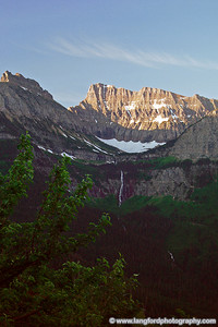 Early morning shot of Bird Woman Falls taken from a turnout along Going to the Sun road.