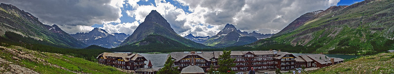 This very wide view of the Many Glacier area was shot from the hill overlooking Many Glacier lodge.