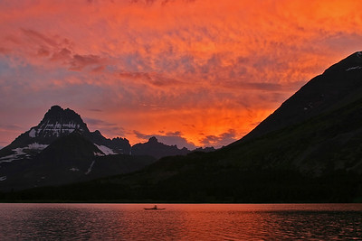 This dramatic sunset was captured from the shoreline near the rear of Many Glacier Lodge.  This shot was captured about 30 minutes after the sun had gone down.