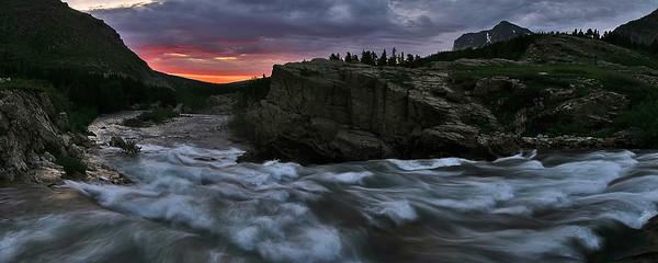 This panoramic image was captured about 30 minutes before the sun rose.  This was taken from the bridge over Swiftcurrent Falls, near Many Glacier lodge.