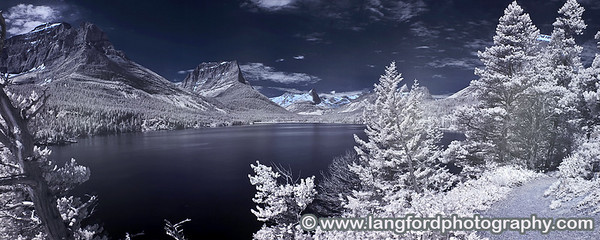 Infrared panorama taken from one of the trails along St Mary Lake.  The lake was incredibly calm on this day, alowing for the reflections in the water.