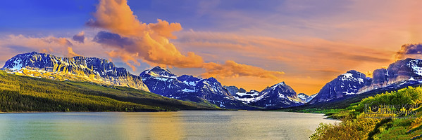 """Sherburne Glow,"" Sherburne Lake Sunset, Glacier National Park, Montana"