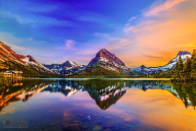"""Alpine Revelation,""  Mount Grinnell and Swiftcurrent Lake Sunset, Many Glacier, Glacier National Park"