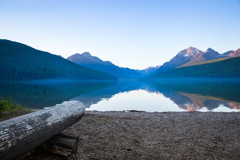 Bowman Lake w/ Log Bench