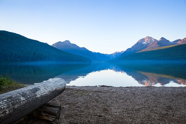 Bowman Lake w/ Log Bench