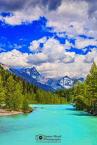 """""""Turquoise River,"""" Mount Doody, Battlement Mountain, Cloudcraft Peaks and the Middle Fork Flathead River, Glacier National Park"""