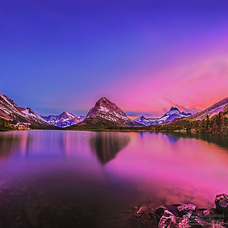 """""""Alpine Enchantment,"""" Swiftcurrent Lake and Mount Grinnell Sunset Alpenglow, Many Glacier, Glacier National Park, Montana"""