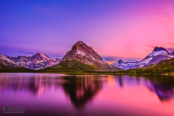 """Radiance,"" Alpenglow over Mount Grinnell and Swiftcurrent Lake, Many Glacier, Glacier National Park"