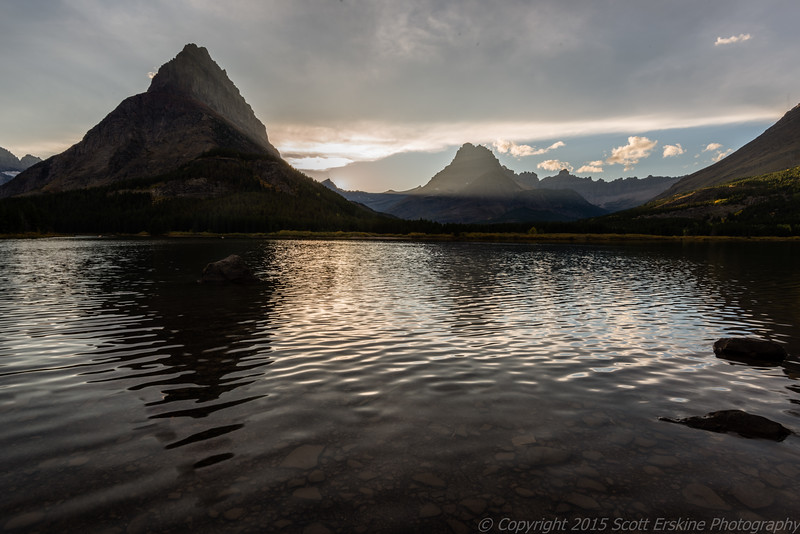 Lightbeams on Grinnel Point, Swiftcurrent Lake