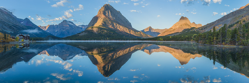 """Many Glacier Hotel on the bank of Swiftcurrent Lake reflection. The image is a panorama of several images and is optimized for a 20"""" x 60"""" print, I suggest metal."""