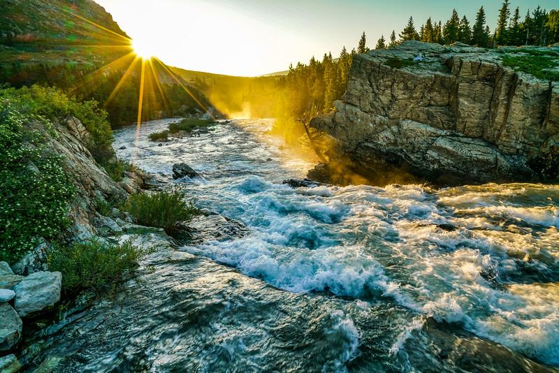 Sunrise Near Many Glacier Stream