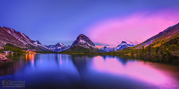 """Grinnell's Last Light,"" Alpenglow over Swiftcurrent Lake and Mount Grinnell, Many Glacier, Glacier National Park"
