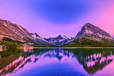 """Angel's Glow,"" Mount Grinnell, Mount Gloud, Allen Mountain and Angel Wing Alpenglow over Swiftcurrent Lake, Many Glacier, Glacier National Park"