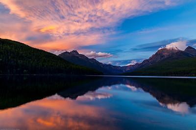 Sunset, Bowman Lake, Livingston Range