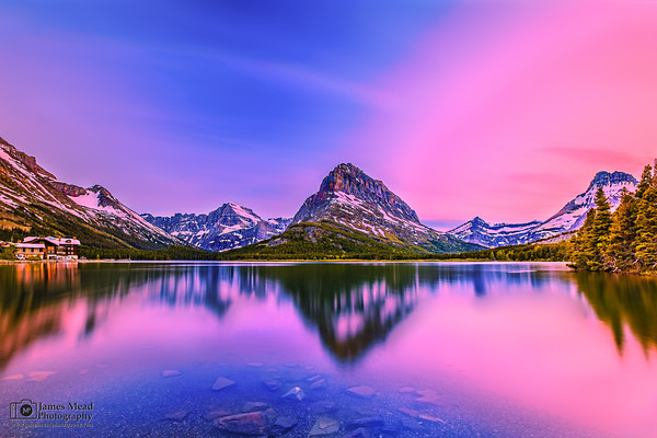 """""""Grinnell Alpenglow,"""" Mount Grinnell and Swiftcurrent Lake Alpenglow, Many Glacier, Glacier National Park"""