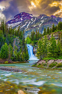 """Sky Burn,"" Running Eagle Falls (Trick Falls) and Rising Wolf Mountain, Glacier National Park, Montana"