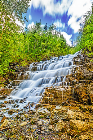 """Silver Steps,"" Silver Staircase Falls, Glacier National Park, Montana"