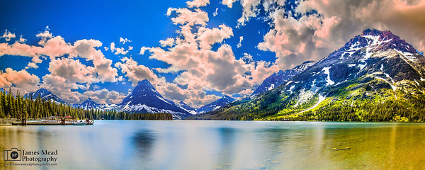 """Rising Mountain,"" Two Medicine Lake,  Sinopah Mountain and Rising Wolf Mountain, Glacier National Park"
