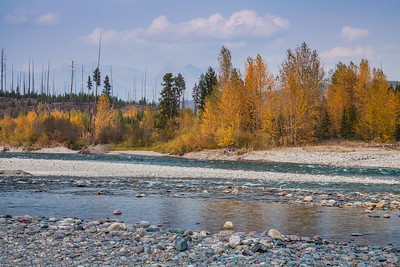 North Fork of the Flathead River at northwestern entrance station for Glacier