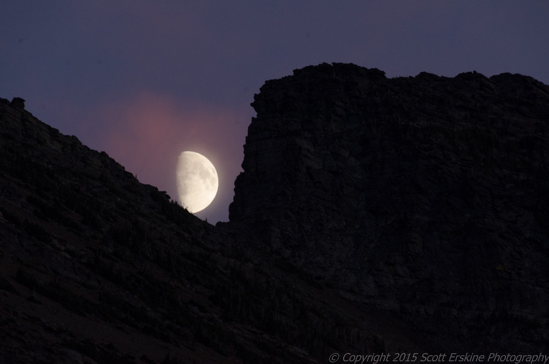 Moonrise and sunset color, Wynn Mountain