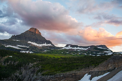 The sun sets just west of Logan Pass Visitor Center in Glacier National Park