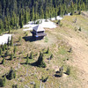 Fire watch tower on the interior of Glacier National Park - view from helicopter tour