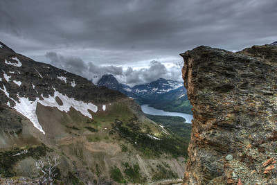 Above the Timberline on the Scenic Point Trail on Mount Henry in Glacier National Park.  Two Medicine Lake visible.