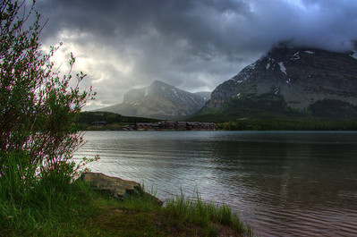 Many Glacier Lodge as seen across Swiftcurrent Lake