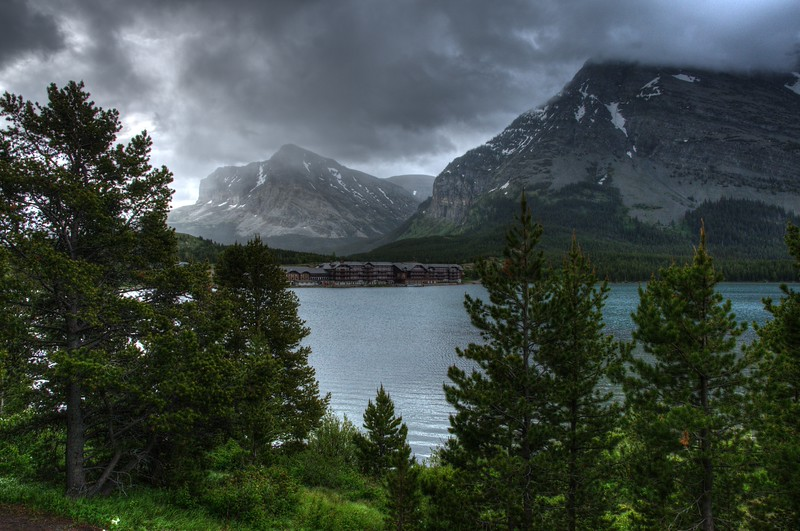 Many Glacier Lodge on Swiftcurrent Lake in Glacier National Park, Montana