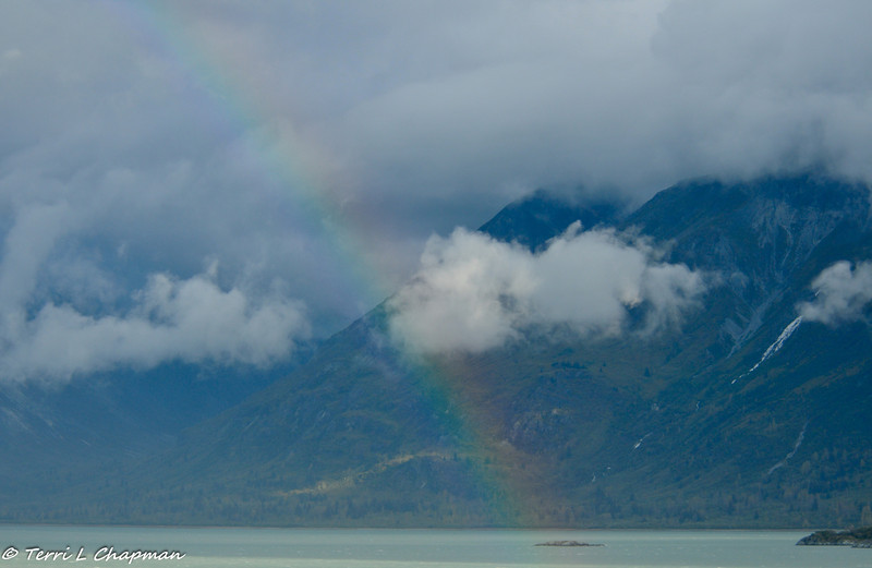 A rainbow appears after a storm, on the way to Glacier Bay. It was indeed a good sign, because the park ranger for Glacier Bay said it was the best weather she had seen in two weeks!