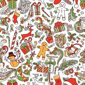 Seamless hand-drawn pattern. Christmas tree and baubles, Santa sock, Santa hat, Santa beard, mistletoe, gifts, candy canes, snowman, swirls, gingerbread man, deer, bells and ribbons, stars, cup, candle.