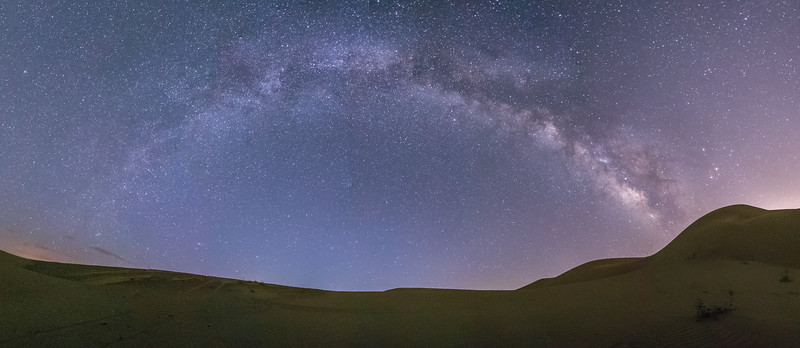 Panorama of the Milky Way Over Glamis Sand Dunes