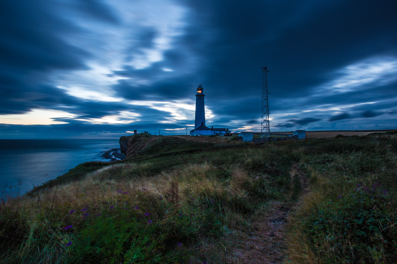 Nash Point Lighthouse at night