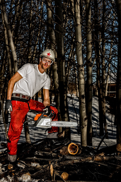 Stihl Chainsaw with Model Ian Shaw