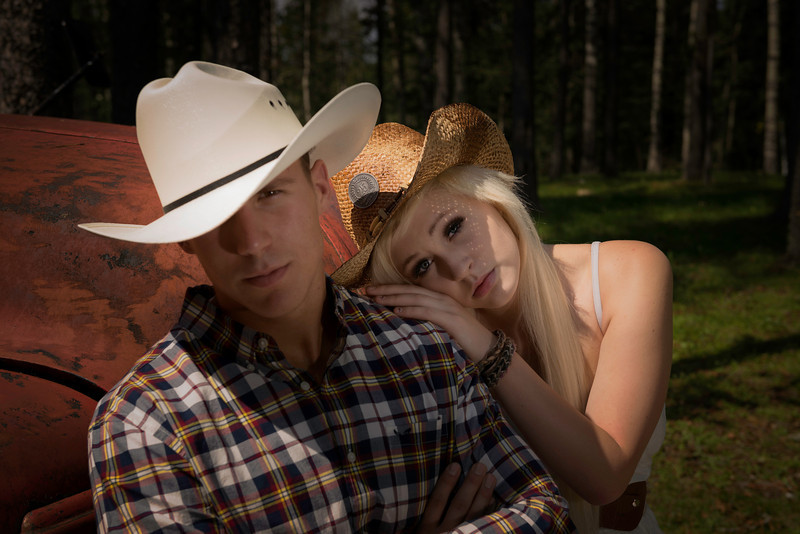 Models:Naomi Rebecca Young & Max Morin.<br /> The lovely cowboy and cowgirl couple. Hanging out on the bumper of the of the old farm truck, lost in love,well at least looking the part.
