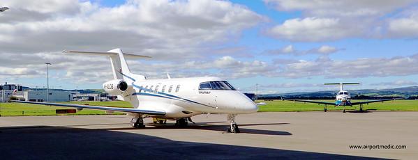 M-ALCB PC12 @ HB-FXM PC12 @ Glasgow Airport (EGPF)