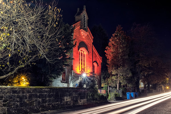 Busby Parish Church of Scotland -  lit Red for Remembrance