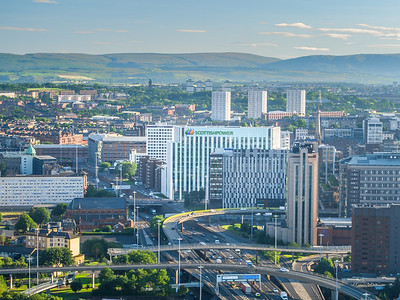 170724 Glasgow ScottishPower HQ Aerial at Sunrise A001