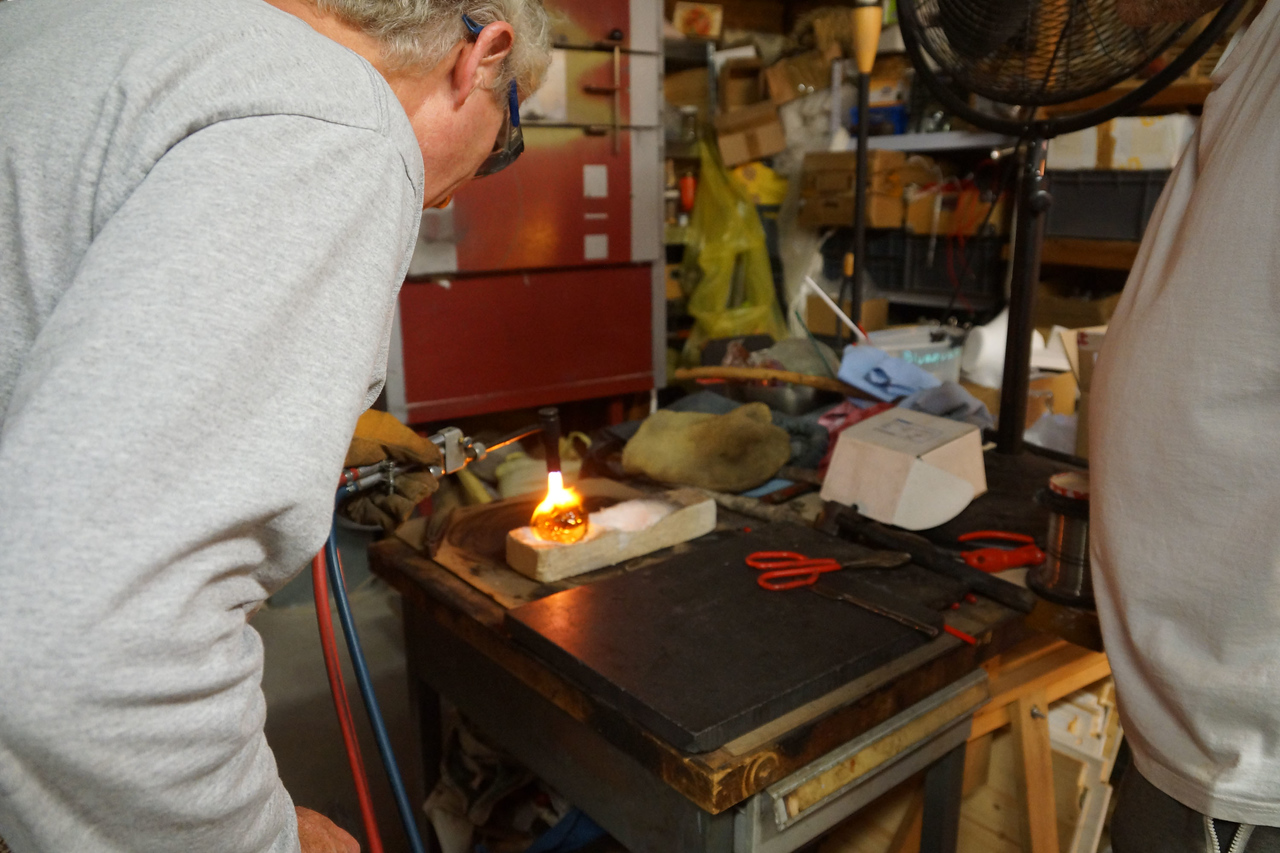 Using an oxy-acetylene torch to remelt rough edges where the rod broke off.