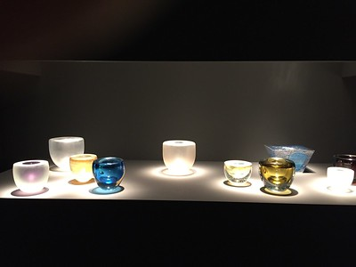 Glass works by Robert Wilson in an exhibition at Galerie Downtown, Paris