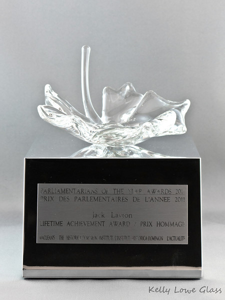 "<p></p> <h1 style=""margin:0px;""><font size=""4""><b>Maclean's Parliamentarians of the Year Awards</b></font></h1> Each award features an individually hand sculpted glass maple leaf firmly attached to the top of a polished aluminum base. The front of each award features an attached faceplate engraved with the name of the award, the recipient, and the organization responsible for commissioning and presenting the awards. All information is presented in both English and French, representing the bilingual nature of both our country and the award recipients.  For more information about the event as well as some fantastic pictures of the recipients with their awards, please visit Maclean's Paliamentarians of the Year Award page on Maclean's own website: <a href=""http://www2.macleans.ca/2012/11/21/drumroll-please-the-2012-parliamentarians-of-the-year/"" target=""_blank"">Click Here For 2012's Awards</a>, or <a href=""http://www2.macleans.ca/2011/11/25/parliamentarians-of-the-year-awards-party/"" target=""_blank"">Click Here For 2011's Awards.</a> (Links will open in a new window.)   <i><a href=""/Custom/Awards-and-Commissions/"" target=""_blank"" title=""Awards and Commissions - Kelly Lowe Glass."">Click here to go to the awards and commissions information page (link opens in a new window</a></i>  <i><a href=""/Glass/Awards/"" title=""Awards Sample Gallery"">If you are not on my main gallery of sample custom awards, click here to return there now</a></i>"