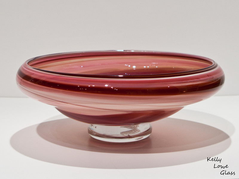Shallow Glass Bowl:<br /> <br /> Sweeping thin bands of colour encircle this bowl, creating a bold yet peaceful effect. The colours within each bowl are customizable to your desire, though I do always have a few ready made bowls on hand as well.